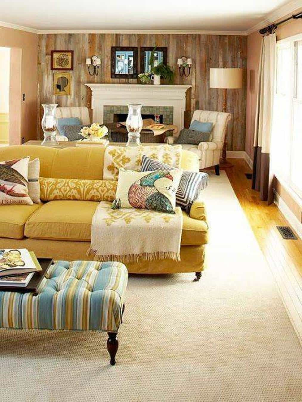Small Narrow Living Room Decorating Ideas: Narrow Living Room Design With Yellow Sofa And Fireplace