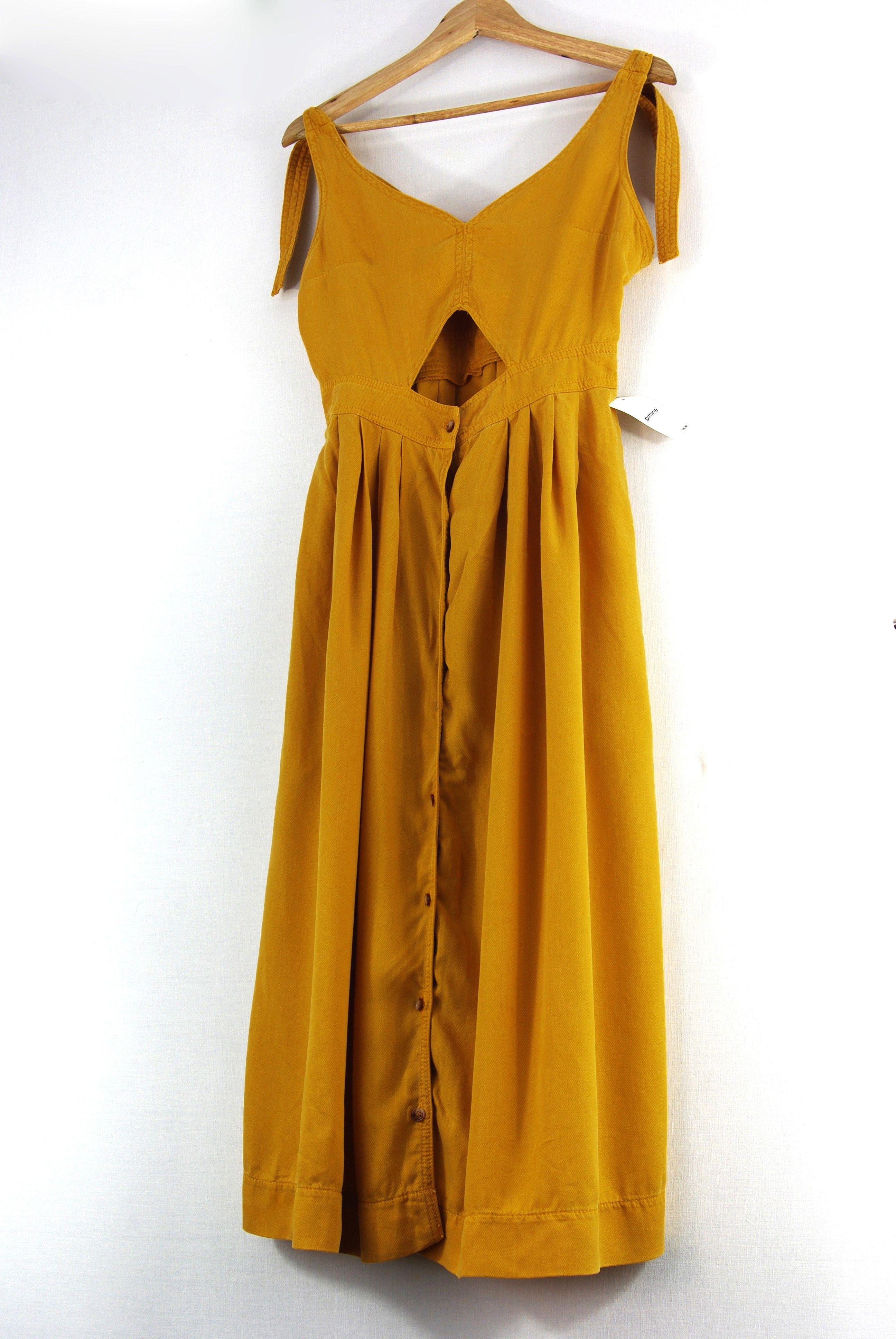 Robe longue jaune moutarde