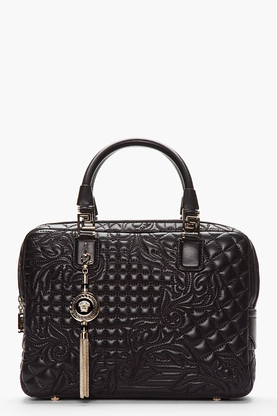 Leather quilted handbags and purses - Versace Black Quilted Floral Leather Tassel Bag For Women Ssense