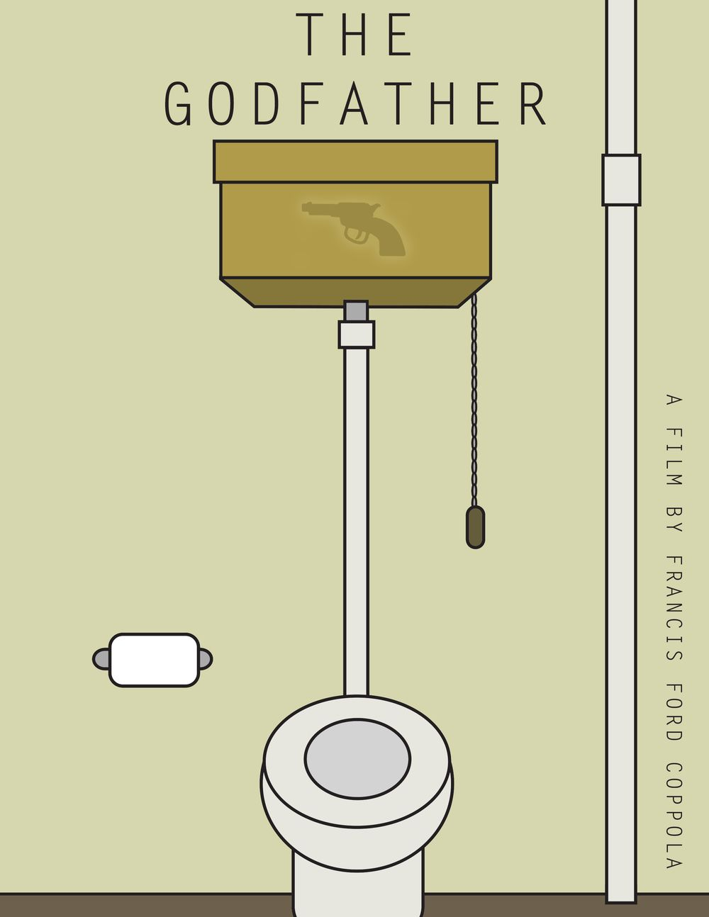The Godfather - minimalist movie poster featuring the gun for Michael Corleone stashed behind the toilet #GangsterMovie #GangsterFlick