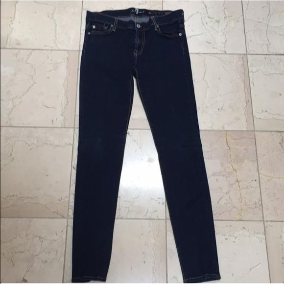 7 for All Mankind Skinny jeans. Size 30 7 for All Mankind Skinny fit denim. Waist discoloring where stretched while wearing. Button hole is a bit stretched (shown in picture). Overall in good condition! 7 for all Mankind Jeans Skinny