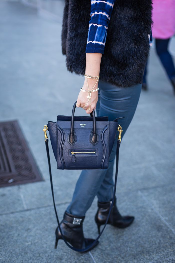 7d9d7901e751 Navy Celine Nano bag and faux fur vest