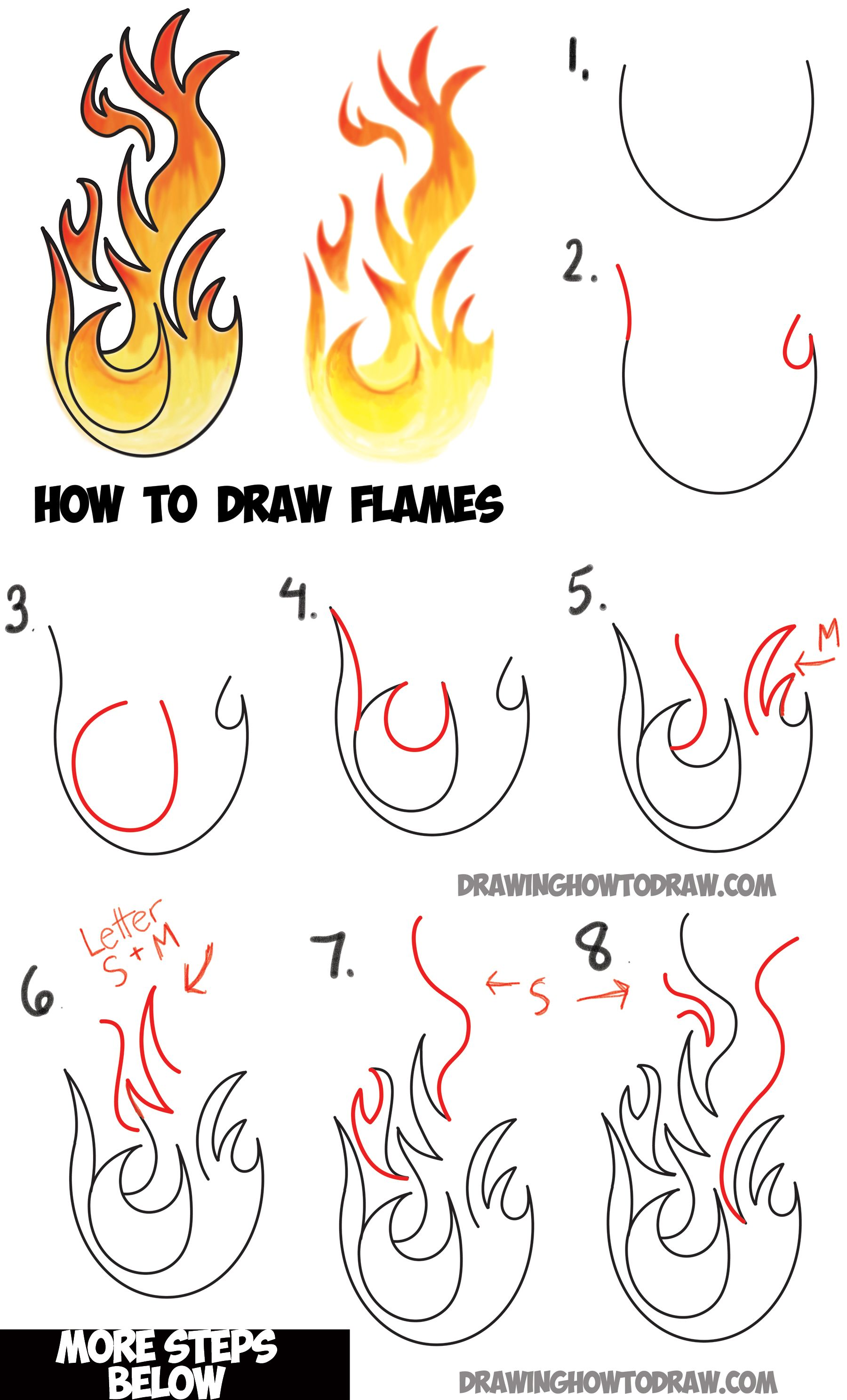 learn how to draw flames and drawing cartoon fire drawing
