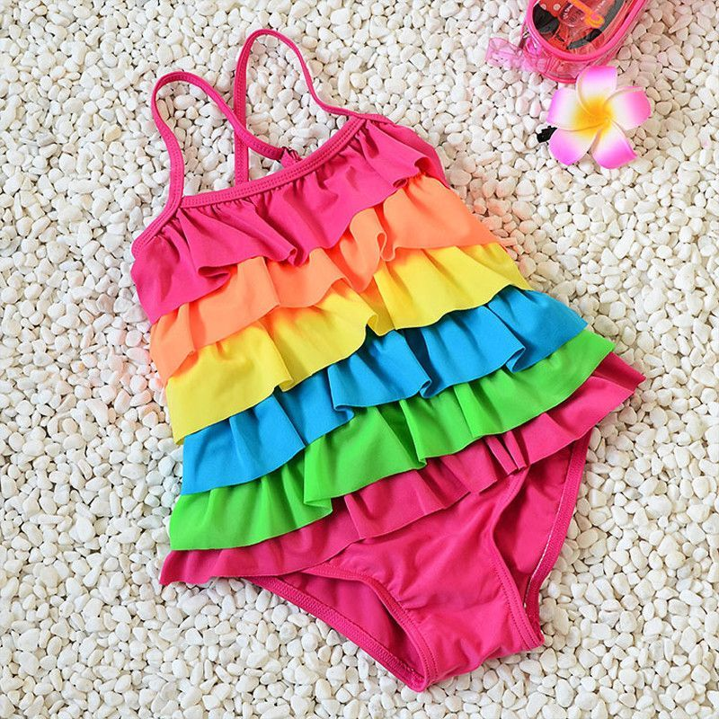 Children Swimwear 6 Layers Flounce Rainbow One Piece strap Girl Baby Swimsuit 2t to 8t M/L/XL girls swimming wear
