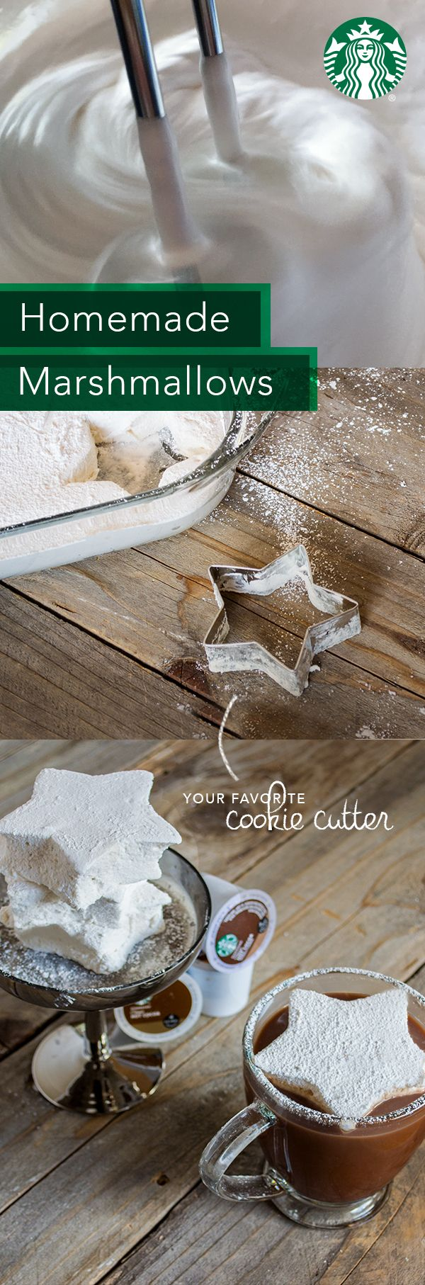 Soak 4 envelopes of gelatin in 1 cup of cold water. Set aside. In a saucepan, combine 4 cups sugar with 1 cup of chilled water. Stir over medium heat until sugar crystals dissolve, and add gelatin from packets. Bring to a boil & stir. Once it's boiling, remove from heat, pour into a bowl & let cool. Add ½ tsp salt & 3 tsp vanilla extract. Mix with an mixer until doubled in thickness. Pour into a greased glass baking pan & let set. Cut into shapes using cookie cutters & dust with powdered…