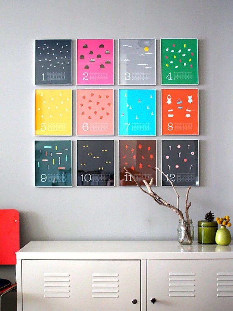 kreativer Kalender in Bilderrahmen und unterschiedliche Farbe für ...