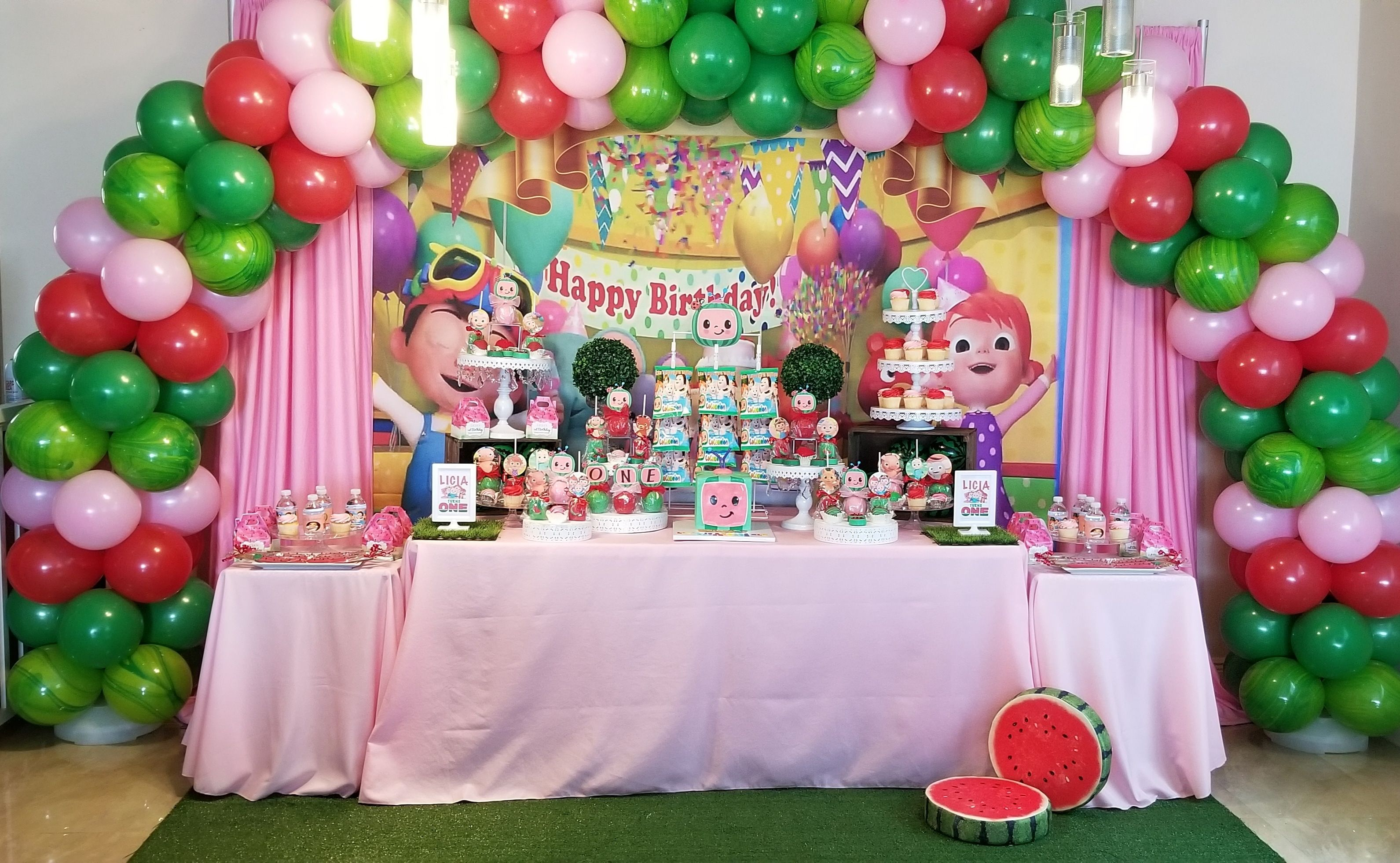 Cocomelon Candy Table Decorations And Balloon Arch Cocomelon Dessert Table Decorat 1st Birthday Decorations 2nd Birthday Party Themes 1st Birthday Party Themes