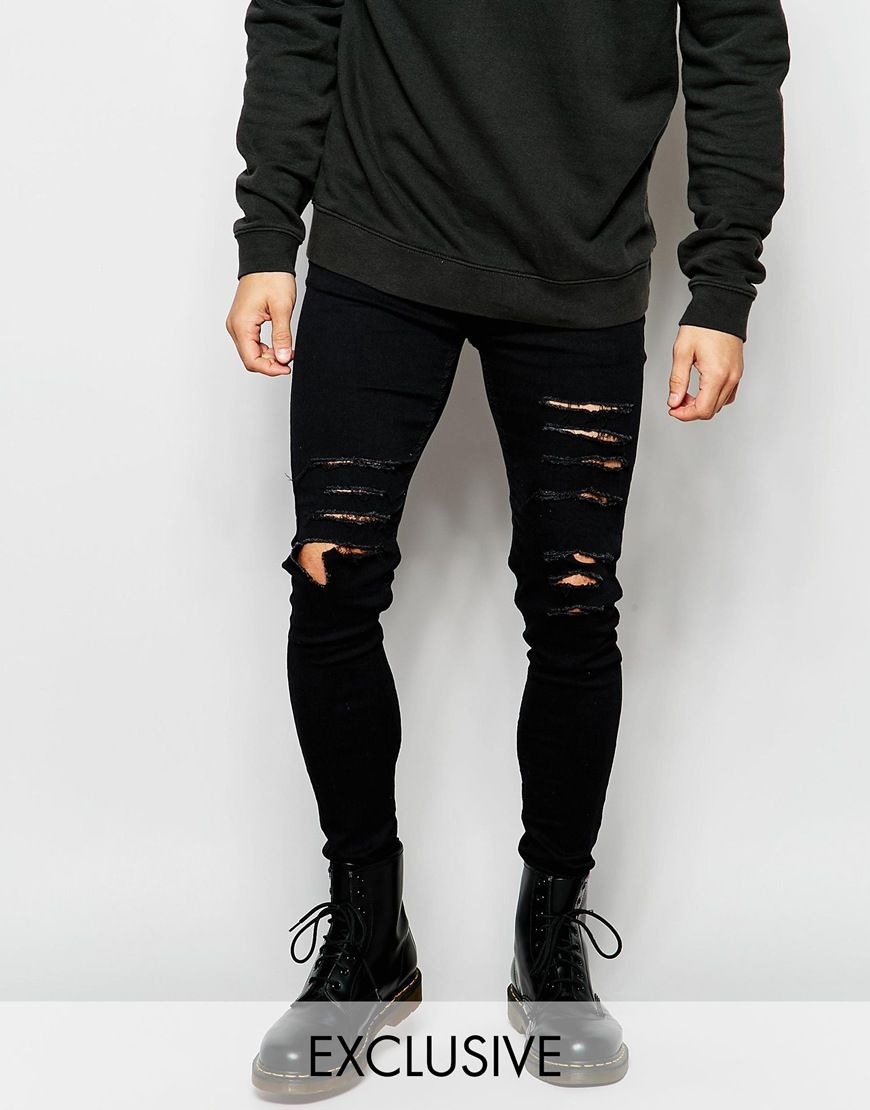 90a3d2d9d00d These skinny ripped jeans are a great way to inject some personality into  your outfit. Layer with a longline t-shirt and over sized jumper for s  slouchy ...