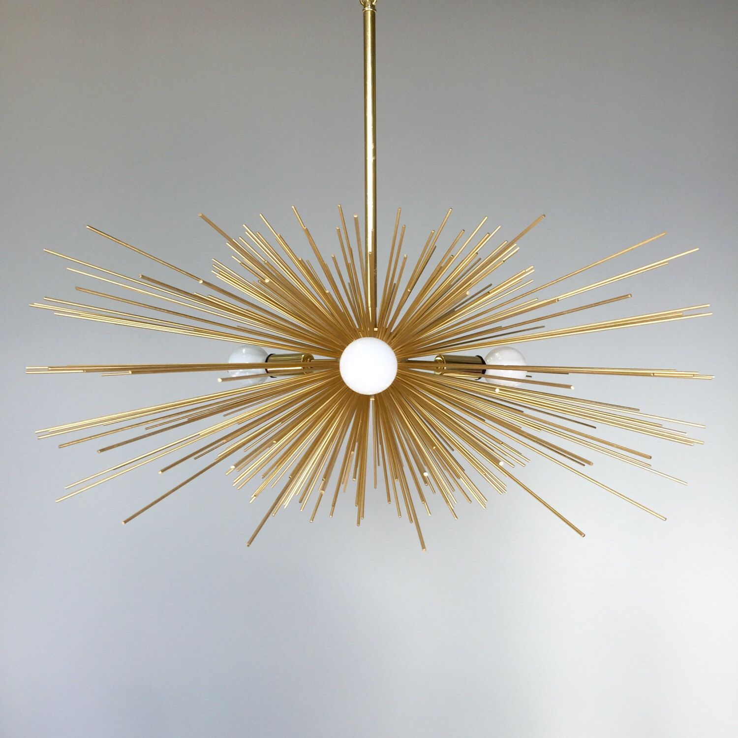 3 Bulb Gold Urchin Chandelier Lighting by DuttonBrown on Etsy