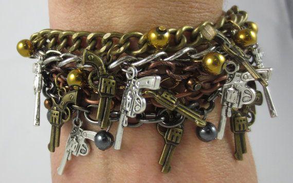 Guns Guns Guns Mixed Metal Charm Bracelet by UnfeatherbyRobyn, $35.00