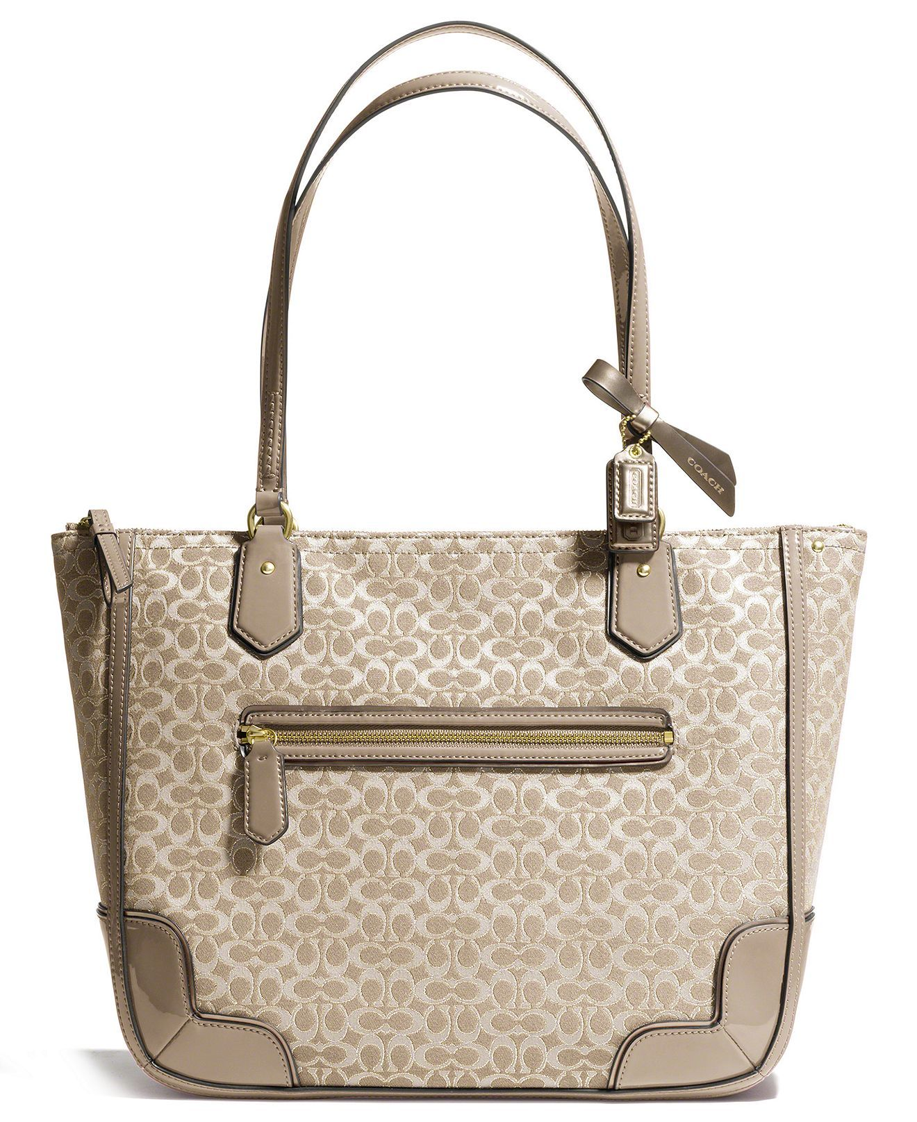 The Poppy Small Tote In Signature C Metallic Outline Fabric From Coach