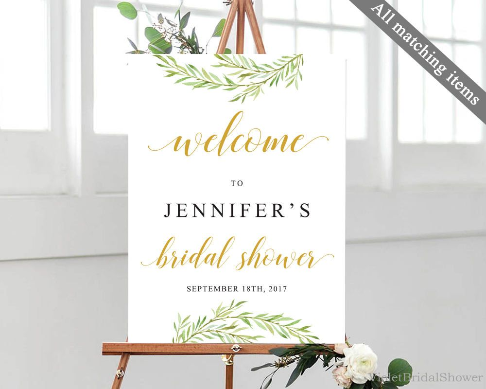 Welcome Bridal Shower Poster Template Printable Greenery Gold Modern Calligraphy Laurel Sign