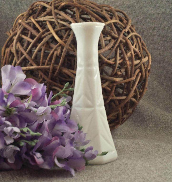Vintage Milk Glass Vase Starburst Cross Pattern Small White Bud