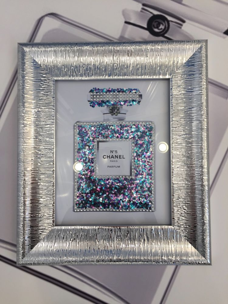 Chanel #5 silver glitter bling art print in glass mirrored sparkly ...
