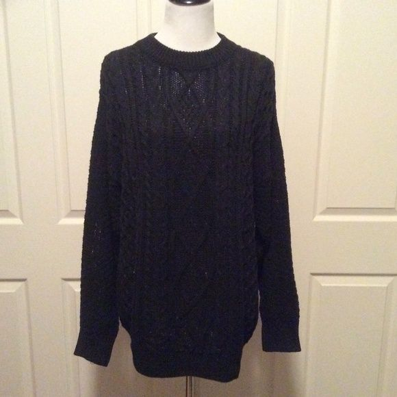 🆕Listing Oversized Blk Cotton Cable Knit Sweater | Cable knit ...