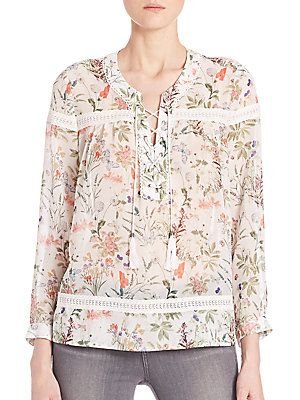 1d66fc72e47 The Kooples Botanic Chiffon Lace-Up Top - White - Size | Products in ...