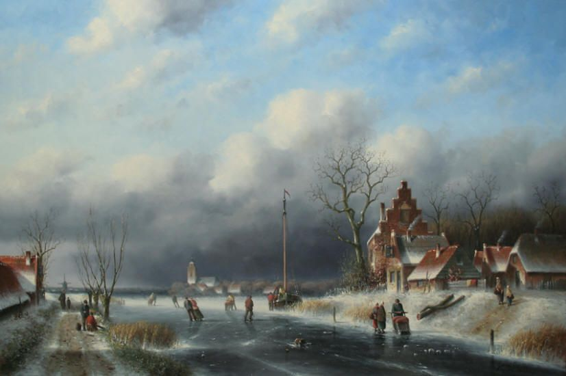 """Skating on a Frozen Canal in the City"" 24"" x 36""  Simon Balyon Oil on Panel"