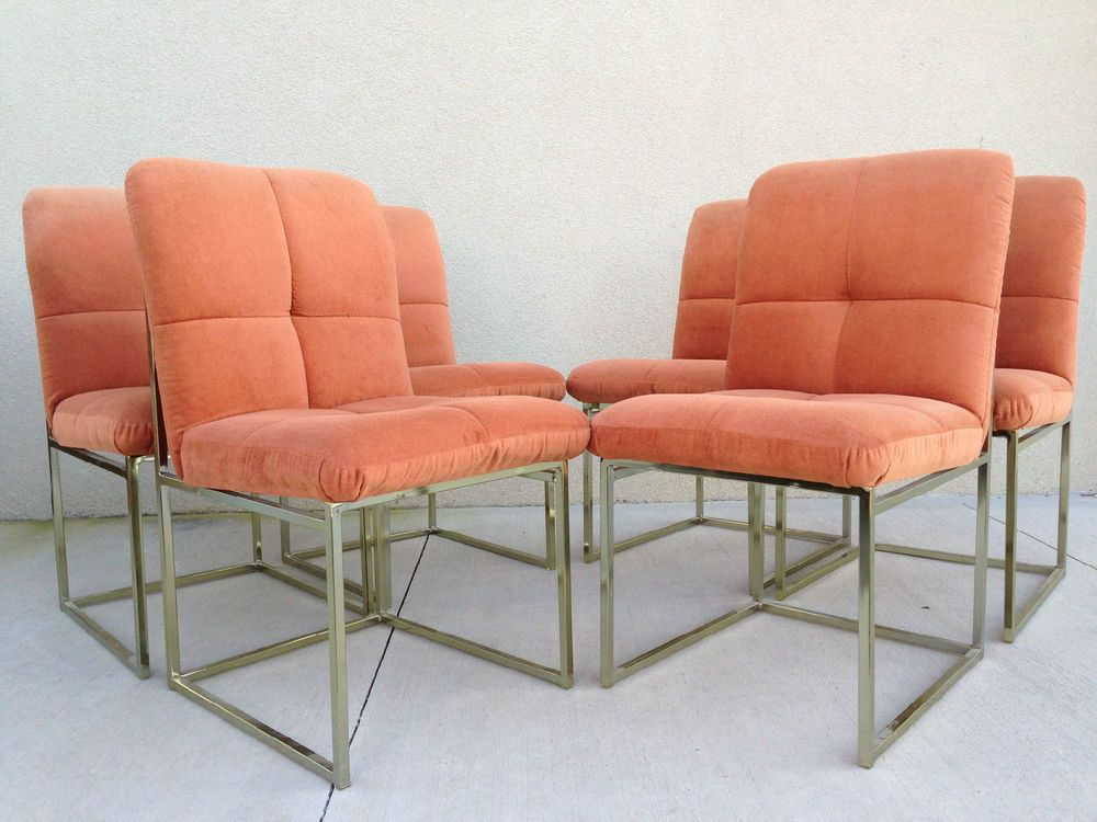 6 Vintage Brass Milo Baughman Style Dining Chairs For Cal Style Furniture  #HollywoodRegency #