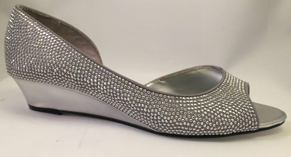 NEW Nina New York Silver Sparkle Jeweled Rally Slip On Chrome Wedges Size 6 #Nina #PlatformsWedges