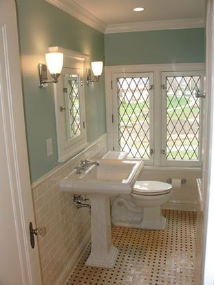 This Bathroom Is In A Traditional Home With Great