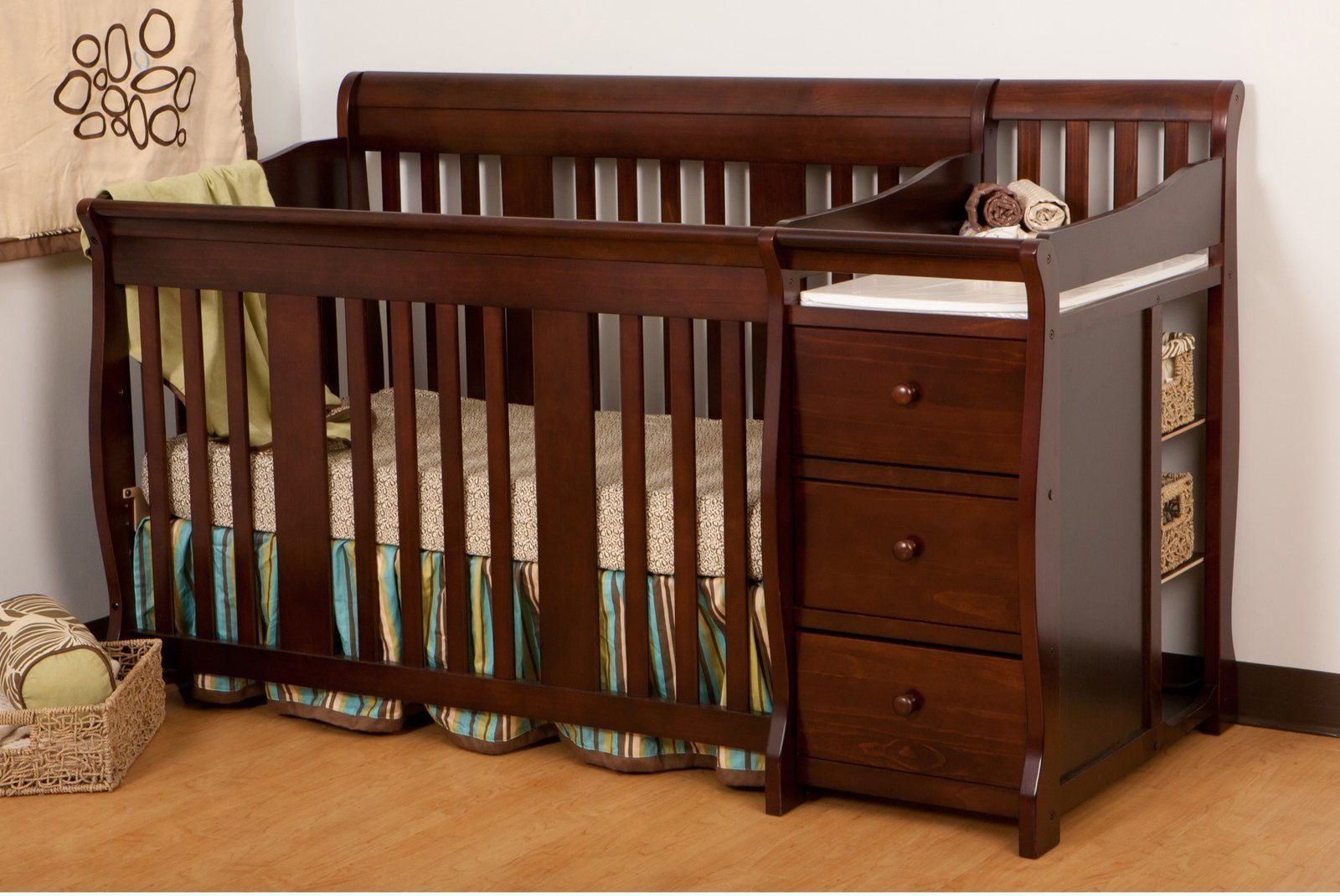 Storkcraft Portofino 4 In 1 Fixed Side Convertible Crib Changer Espresso Diaperscomnursery Disney Crib Bedding Crib With Changing Table Cribs