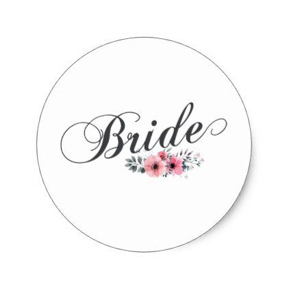 Simple Elegant Bride Pink Fl Sticker Engagement Gifts Ideas Diy Special Unique Personalize
