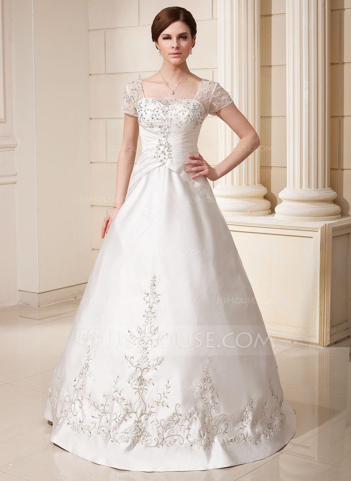 Alineprincess square neckline floorlength satin tulle wedding