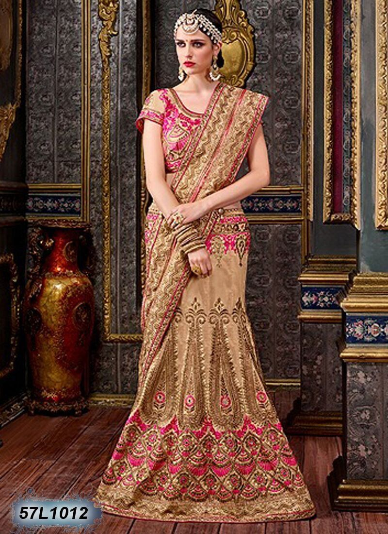 Bring in your fabulous looks with this beige u pink designer lehenga