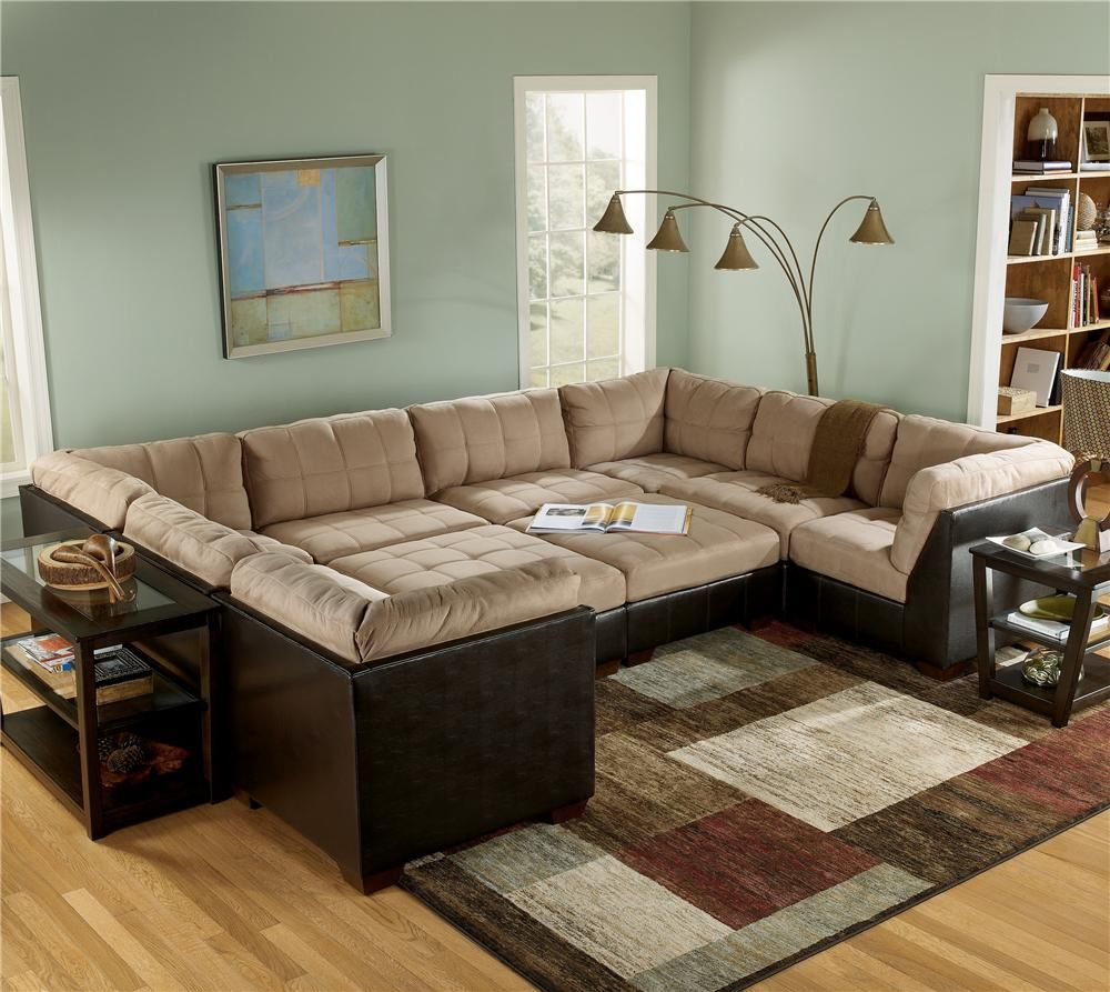 Gable Mocha Sectional Sofa Group With Ottomans By Ashley