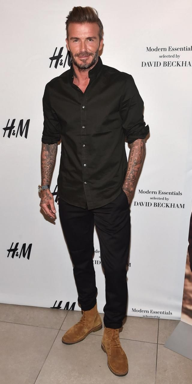 David Beckham Wearing Saint Lau Cigar Brushed Suede Boots H M Cotton Shirt Regular Fit In Black And Suit Joggers
