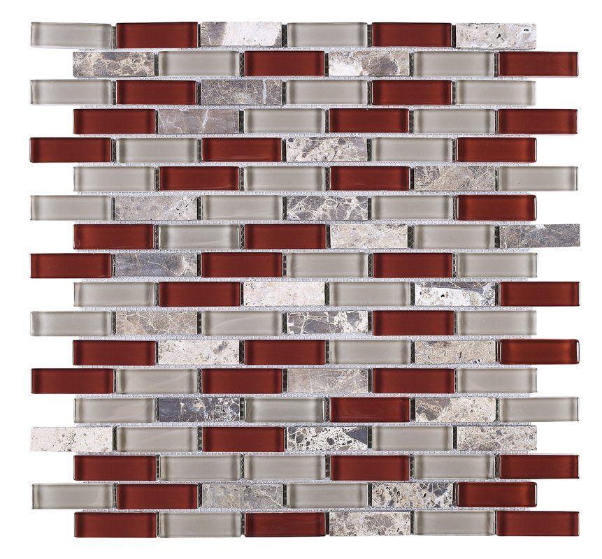 1 X 2 Glass Brick Joint Mosaic Tile Red Backsplash Glass Tile