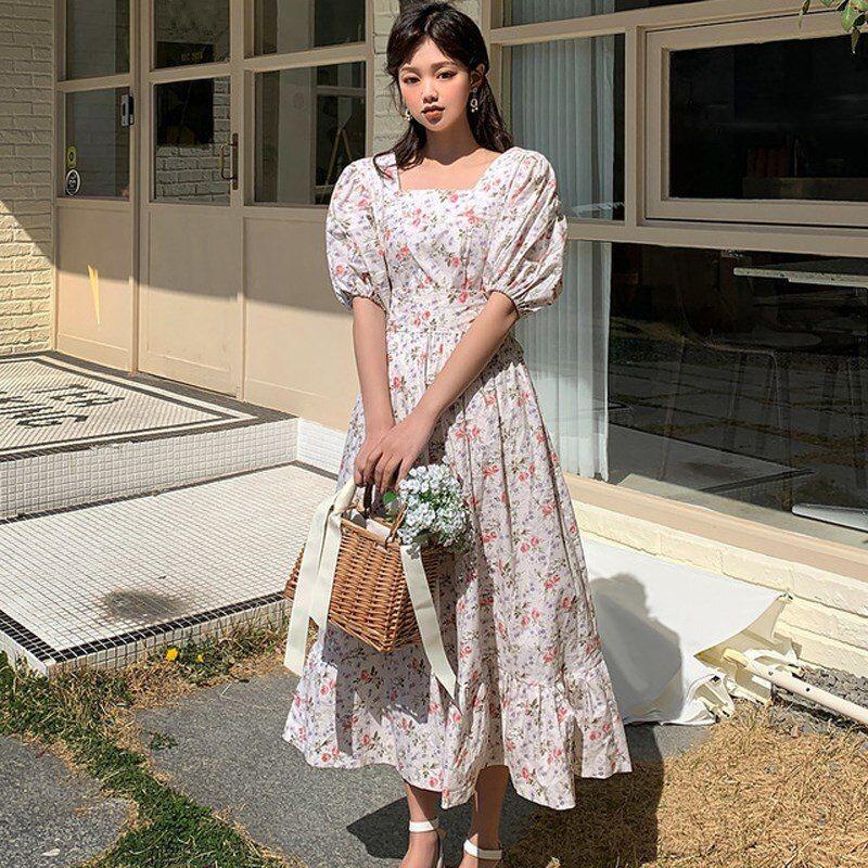 Vintage Womens Square Neck Floral Midi Dress Ladies Casual Long Sleeve Dresses