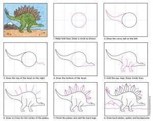 Draw A Stegosaurus Dessin Dinosaure Dessin Coloriage Et