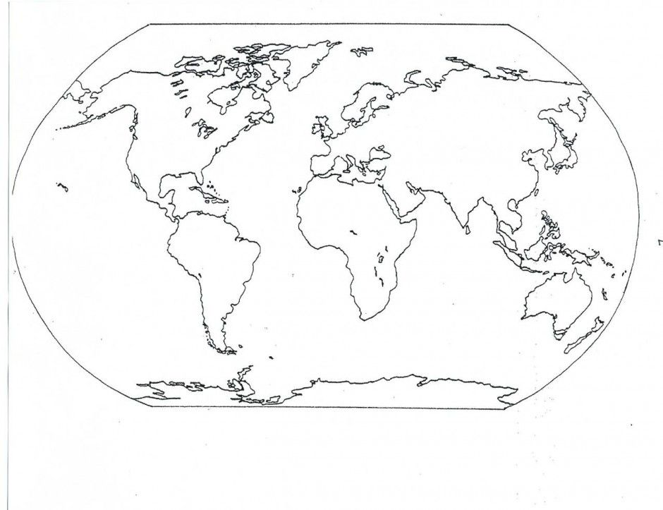 Map Of World Coloring Page For Kids Printable Coloring