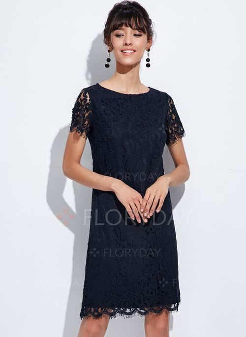 3e5623ab86ac9 Dress - $63.99 - Solid Lace Short Sleeve A-line Dress (1955126667) Dantel