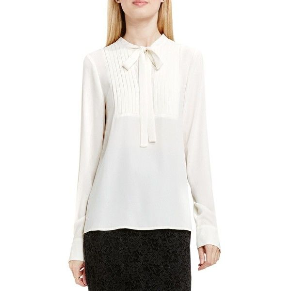 Vince Camuto Tie-Neck Pleated Tuxedo Blouse ($99) ❤ liked on Polyvore featuring tops, blouses, white, white pleated blouse, white blouse, long sleeve tie neck blouse, pleated blouse and tie neck blouse