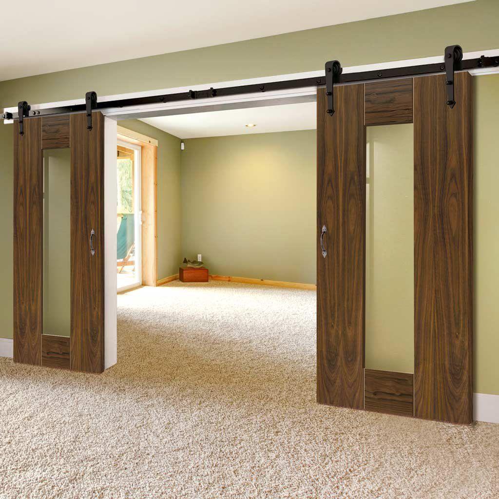 Double Sliding Door Track Axis Shaker Walnut Doors Clear