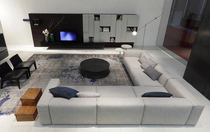 Modern Italian Furniture Simple Style Super Big Size Living Room Furniture  L Shape Fabric Sofa