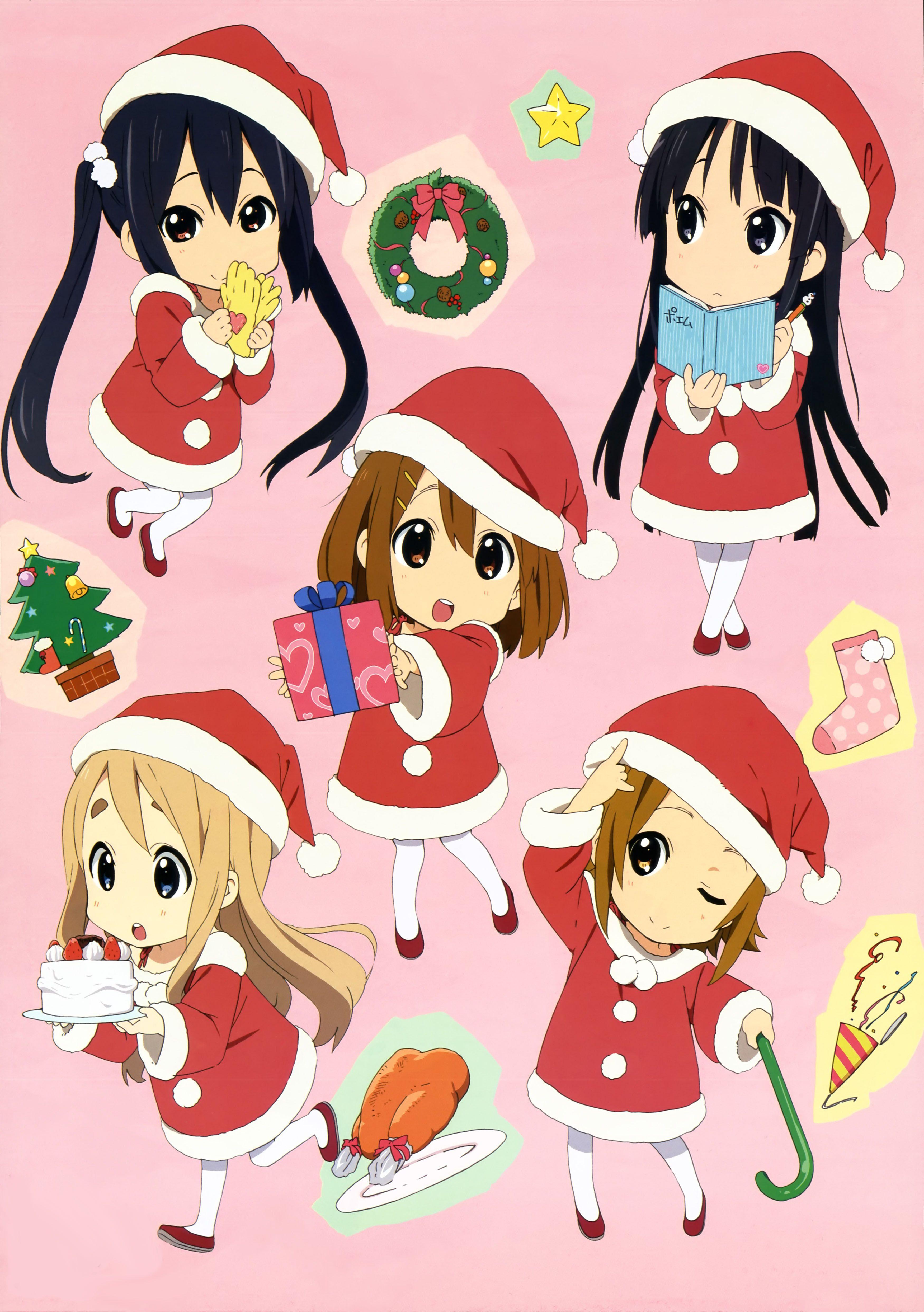 K On Christmas.Keion Christmas Chibis K On Anime Anime Chibi Chibi