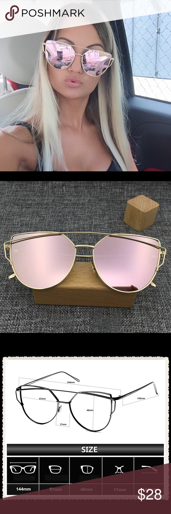 Mirror Cross Wire Cat Eye Sunglasses w/ Case Pink rose mirror lenses with gold metal frames and nose pieces. Comes with microfiber dust bag/cleaning cloth and a free case. New in case, no tag. Accessories Sunglasses