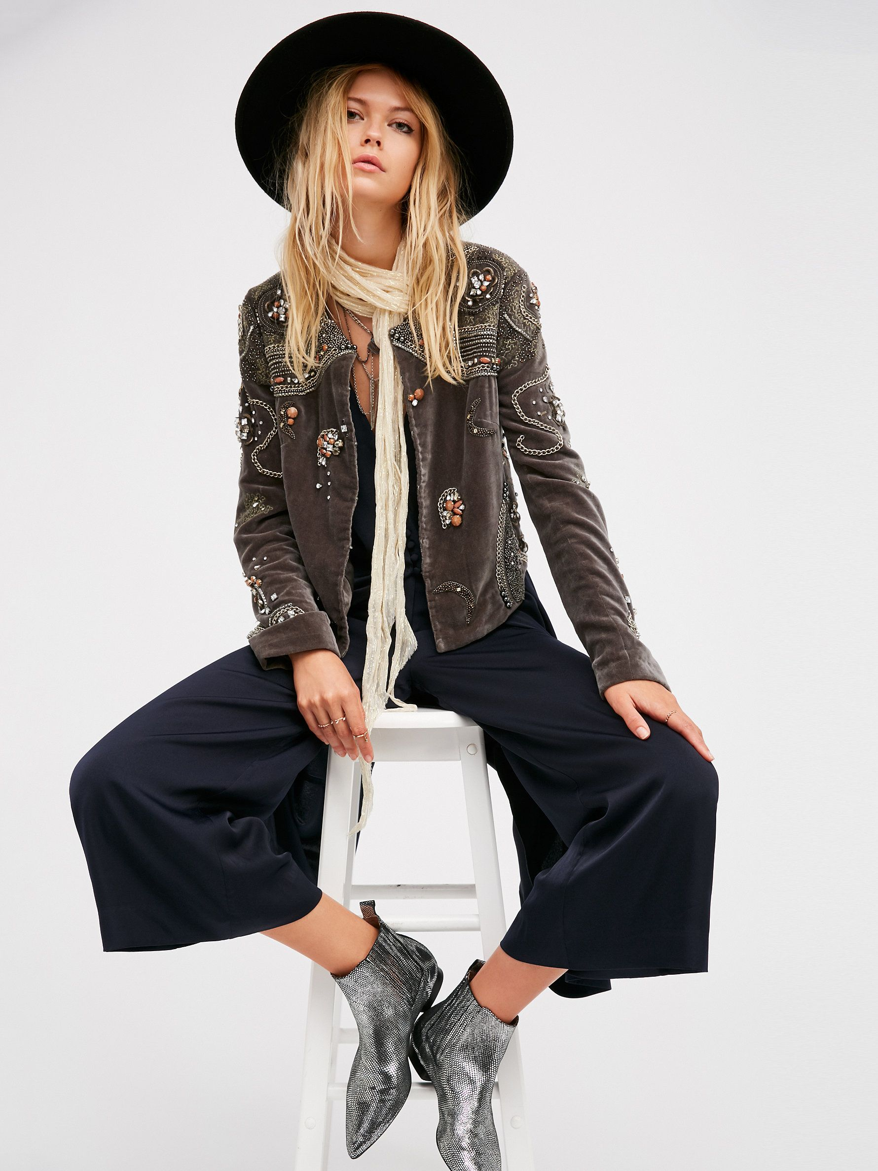 Moon Dance Jacket Soft To The Touch Cropped Jacket With An Open Design Featuring Gorgeous Embroidery And Eye Catching Embell Dance Jackets Jackets Moon Dance