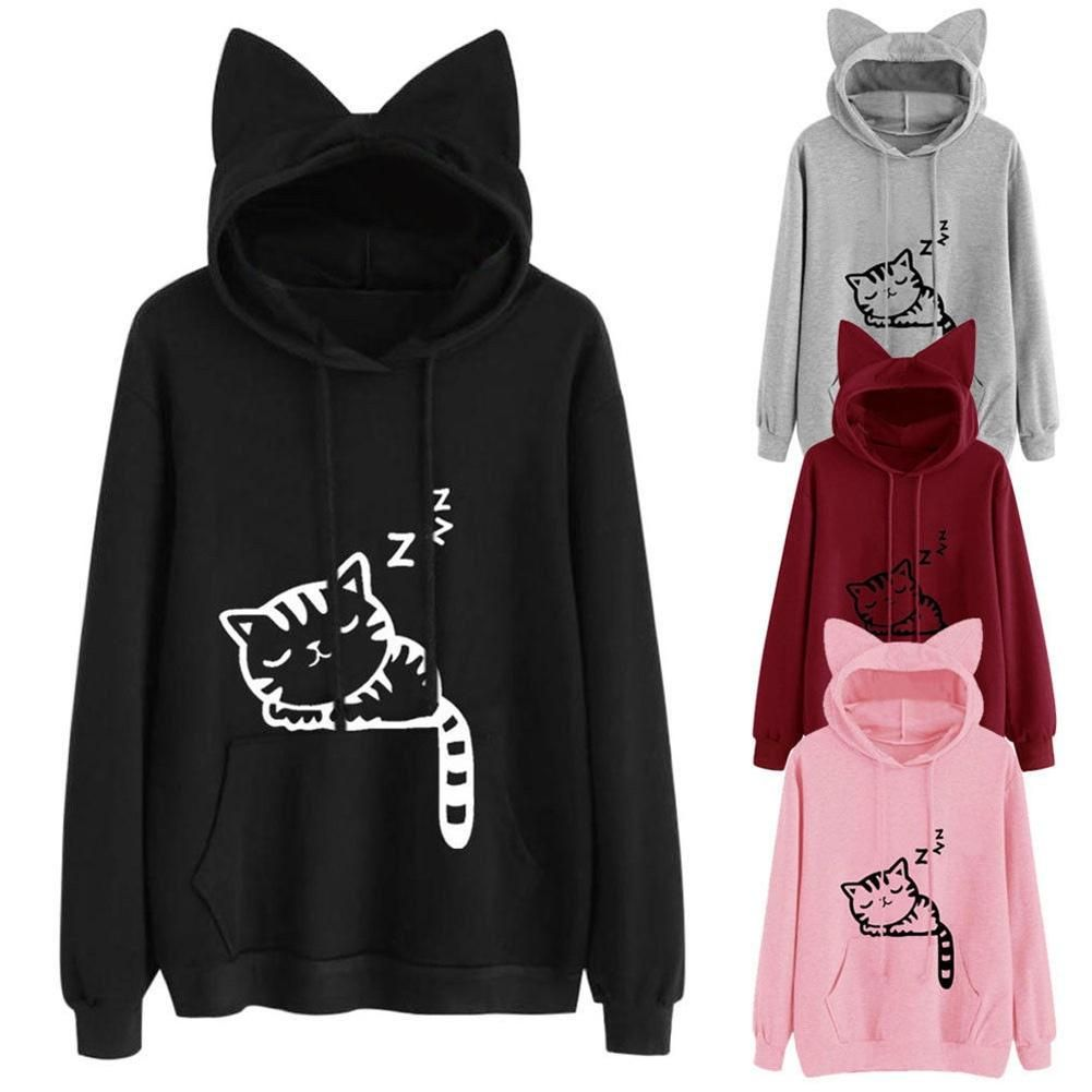 f5bc9ca8c0a Femboy Fashion Front Pocket Cat Ear Hoodie Sleeping Cat Pattern Pullover  Sweatshirt