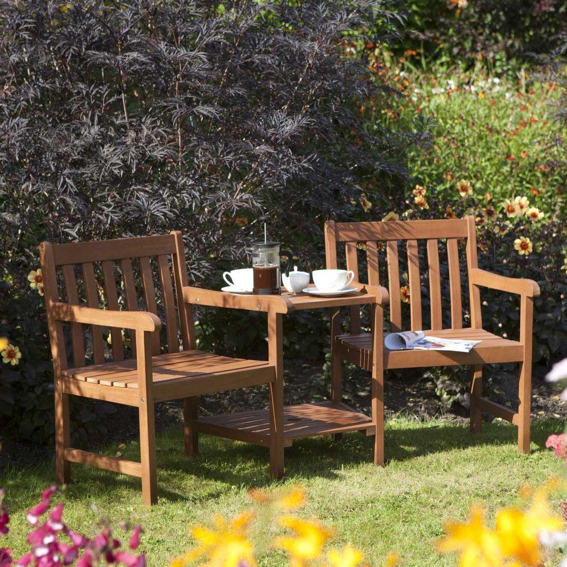 Hampton Companion 3 Piece Conversation Set | Wooden garden ...