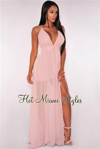 39443fbfd05 Blush CrissCross Back High Front Slit Maxi Dress