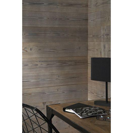 Lambris bois épicéa brossé petits noeuds taupe, 237x18cm ep 16mm