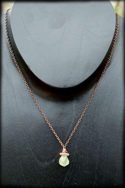 Prehnite and Copper Necklace  by Morgan Newberg