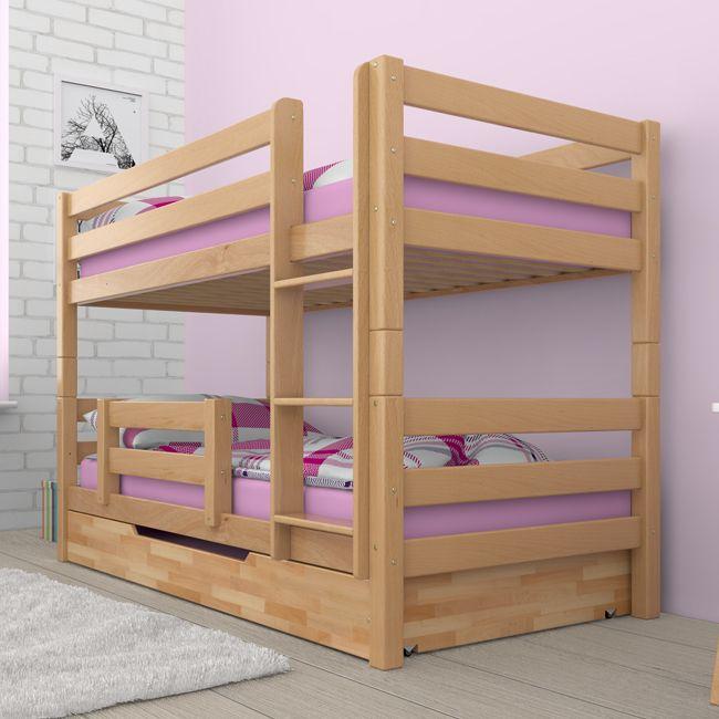 Kinderbett Mit Rausfallschutz etagenbett stockbett kinderbett ricky buche massiv vollholz teilbar
