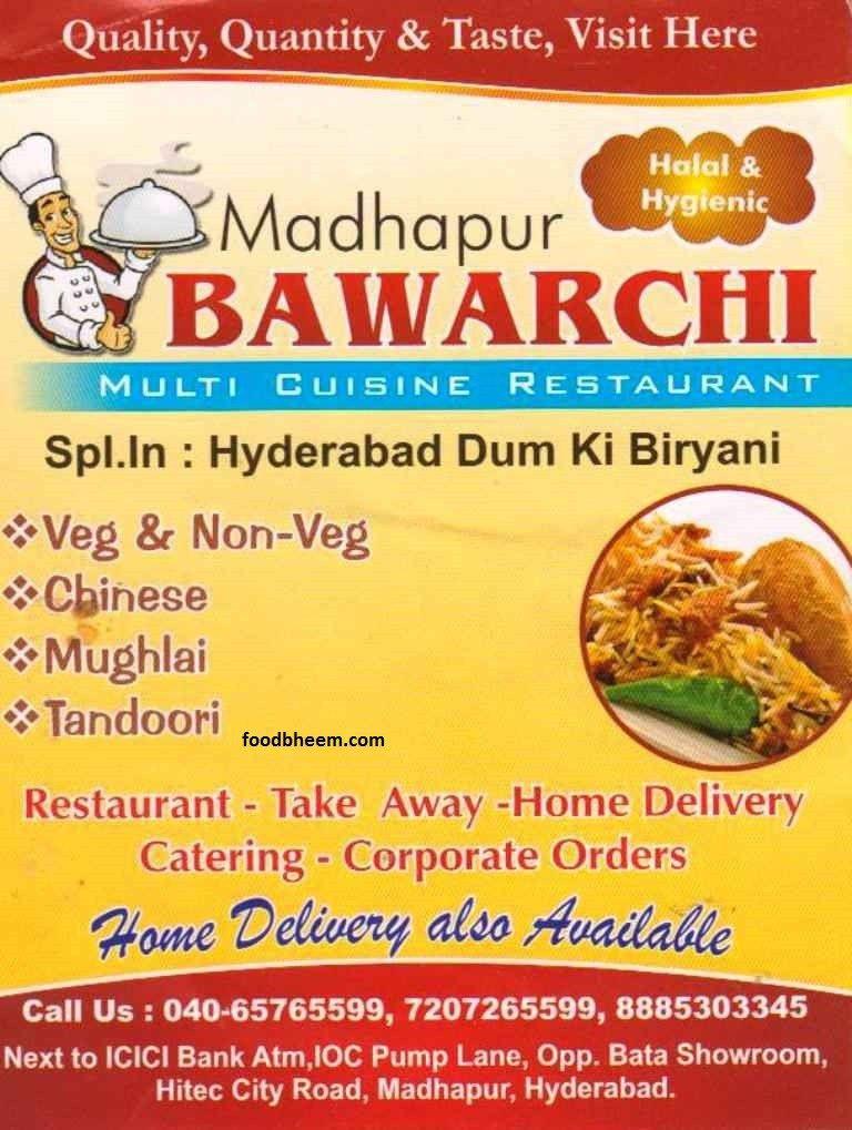 Bawarchi Menu Biryani Catering Cuisine