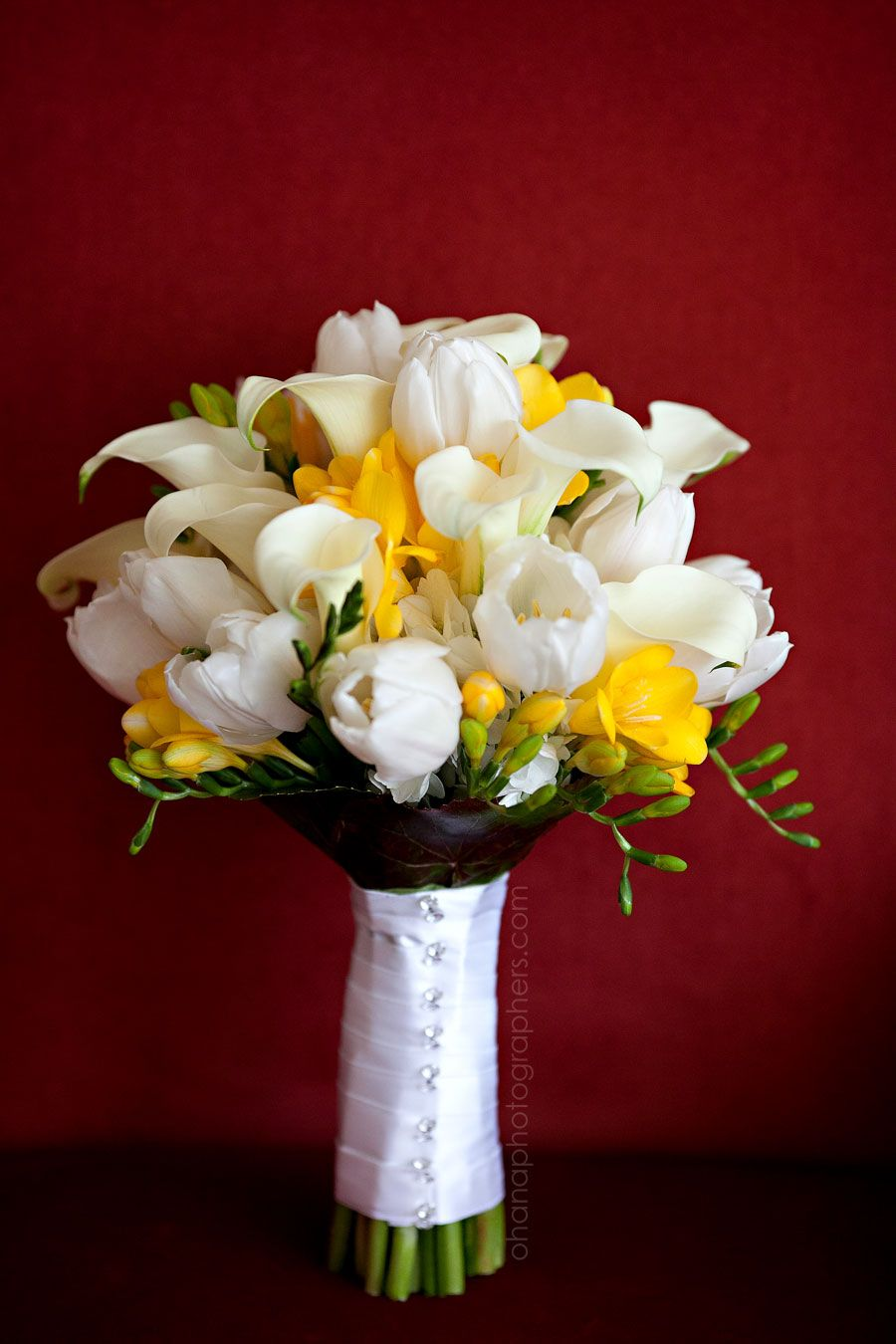 white and yellow tulip and lily wedding bouquet // hotel del coronado  wedding