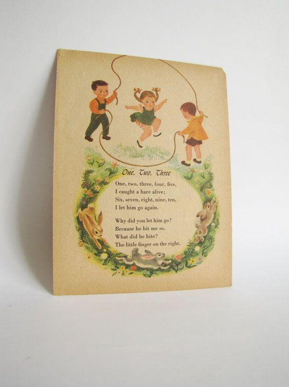Vintage Nursery Decor. fall wall art. Retro. Nursery Rhymes. Shabby ...